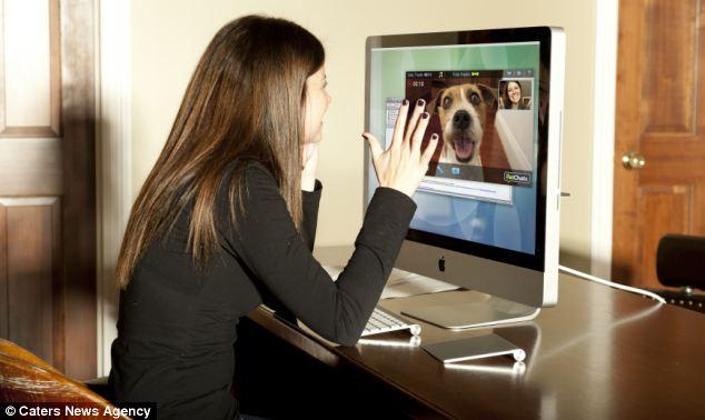 Com o videofone, os donos podem se comunicar com seus cães quando estiverem longe de casa. (Foto: Reprodução / Daily Mail)