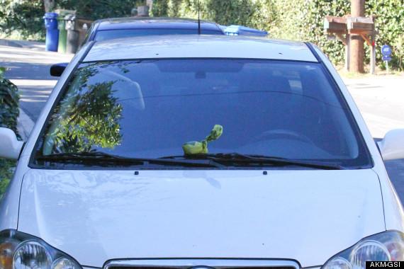 A atriz deixou um saquinho com cocô de cachorro no para-brisa do carro de paparazzo. (Foto: Reprodução / Huffington Post)