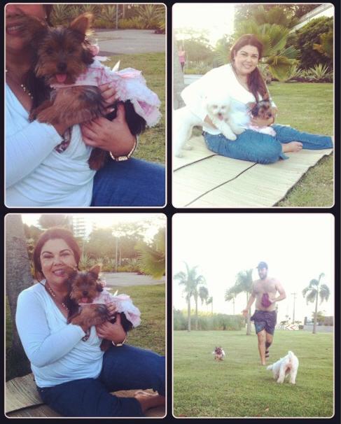 A atriz e suas cachorrinhas se divertindo. (Foto: Reprodução / Instagram)