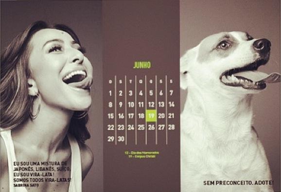 """Sabrina Sato no calendário """"Somos todos vira-latas"""". (Foto: Reprodução / Instagram)"""