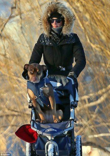 Gisele empurrando o carrinho. Foto: Reprodução / DailyMail