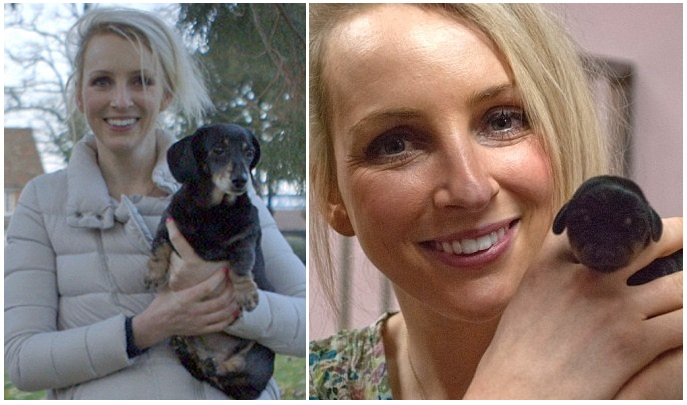 A cachorra Winnie de 12 anos (lado esquerdo da foto) e a clone Mini Winnie recém-nascida (direito). (Foto: Reprodução / Daily Mail UK)