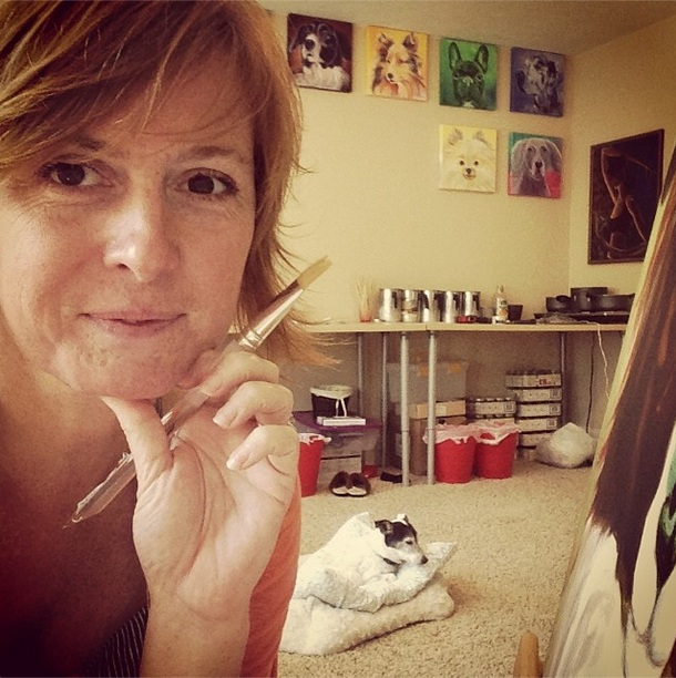 Leiann Klein vai pintar 30 retratos de cães em 30 dias. (Foto: Reprodução / Instagram)