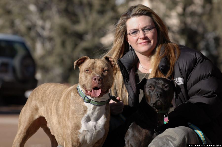A cachorra Halle foi a primeira a ser adotada. Quem adotou foi Barbara Williamson, relações públicas da Best Friends. (Foto: Reprodução / Huffington Post)