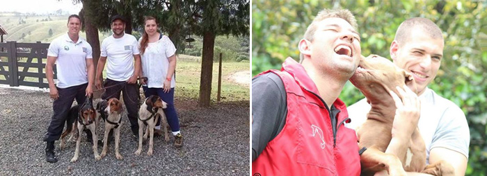 Esquerda: Treino de mantrailing. com filhotes de Rastreador Brasileiro em Sorocaba. Direita: Descontração e muito treino. Foto: Reprodução/facebook. Montagem: Portal do Dog