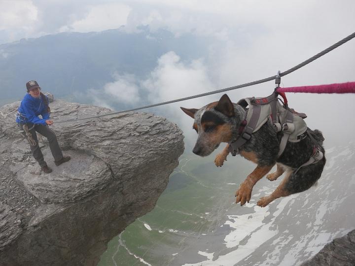 Whisper indo até o local do salto. (Foto: Divulgação / Youtube / Dean Potter)