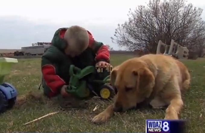 O cachorro Cooper salvou a vida do garoto Carson. (Foto: Reprodução / WDAZ 8 TELEVISION)