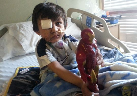 Kevin Vicente, 4, no hospital. Foto: Flor Medrano
