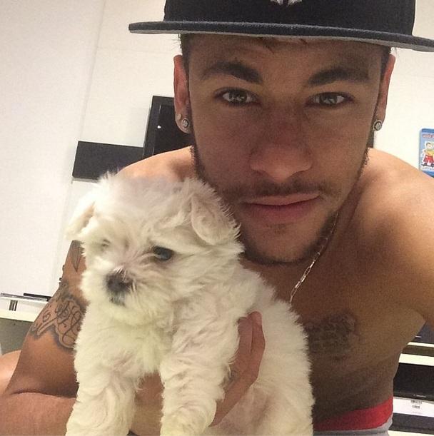 Neymar postou uma foto com um cachorro parecido com a Luna, cachorrinha de Bruna Marquezine. (Foto: Reprodução / Instagram)