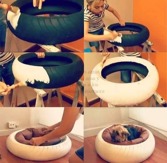 caminha de cachorro feita de pneu portal do dog. Black Bedroom Furniture Sets. Home Design Ideas