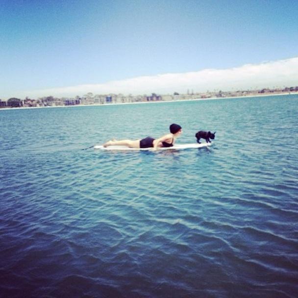 Lady Gaga e a cachorrinha Asia surfando. (Foto: Reprodução / Instagram)