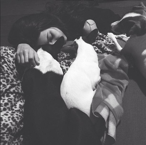 Manu dormindo com as três cachorras. (Foto: Reprodução / Instagram)