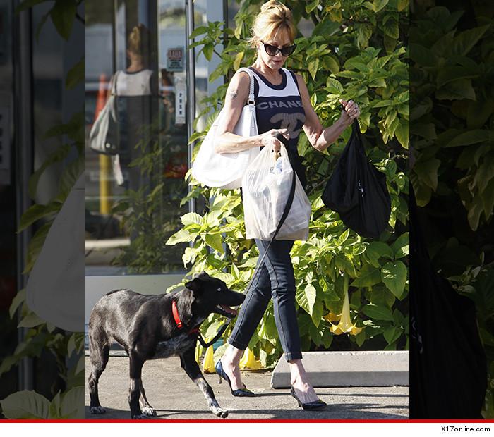 Melanie Griffith com um de seus cachorros. (Foto: Reprodução / TMZ)