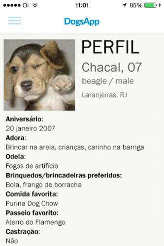 Cada cachorro terá um perfil com suas informações. (Foto: Divulgação)