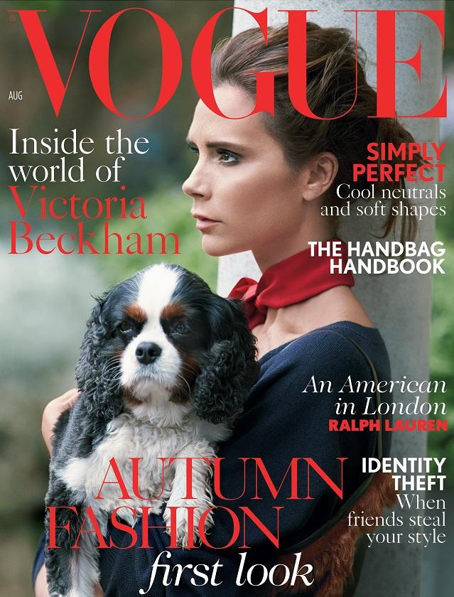 Victoria Beckham e um cachorro estampam capa da Vogue. (Foto: Reprodução / Vogue UK)