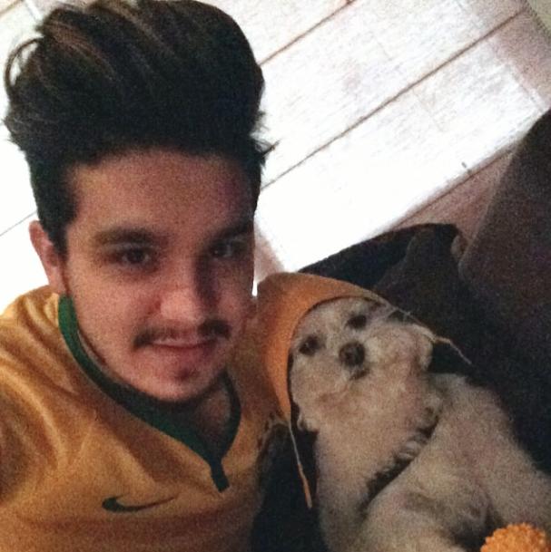Luan Santana e seu cão Puff na torcida pelo Brasil. (Foto: Reprodução / Instagram)