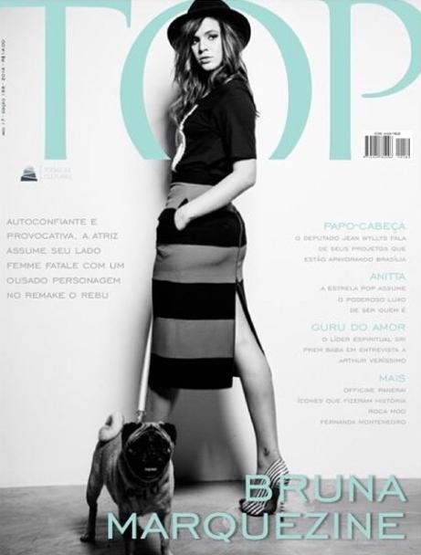Bruna Marquezine e sua cachorra Lola estão na capa da Top Magazine. (Foto: Reprodução / Instagram)