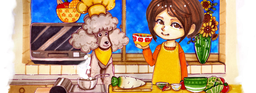 francis-cooking-with-dog-poodle-cachorro