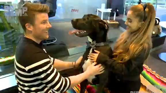 O locutor Angus O'Loughlin e Ariana Grande com o cachorro Buckets. (Foto: Reprodução / 2dayfm)