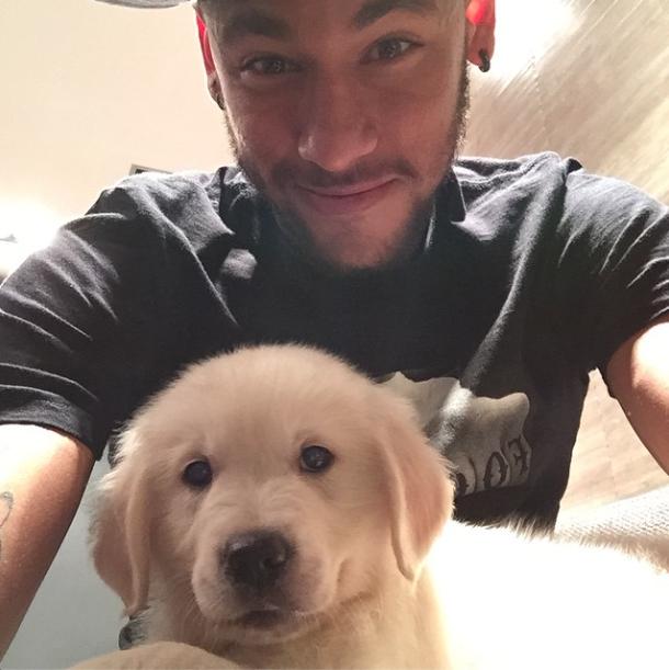 Neymar tirou uma selfie com o cachorrinho. (Foto: Reprodução / Instagram)