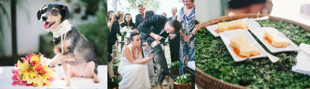 Casamento de Alexandre Rossi (Dr. Pet) e Cynthia Macarrão, com a presença ilustra fa filha canina do casal, a querida Estopinha. Fotos: Divulgação