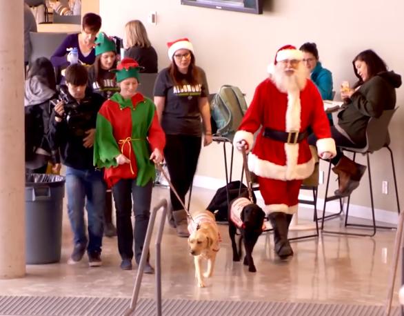 O Papai Noel, seus duendes e alguns cachorros surpreenderam estudantes canadenses. (Foto: Reprodução / Youtube)