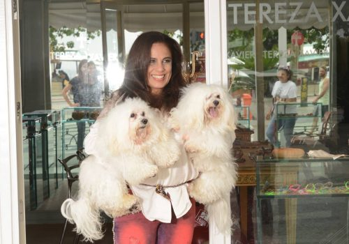 Tereza Xavier com seus cachorros Melktzedek e Ze Bedeu, que inspiraram a coleção Meu Melhor Amigo e a campanha Natal Cãopanheiro. (Foto: Joaquim Nabuco)