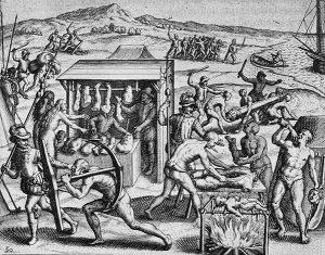 O açougue humano. Obra de Theodor de Bry.