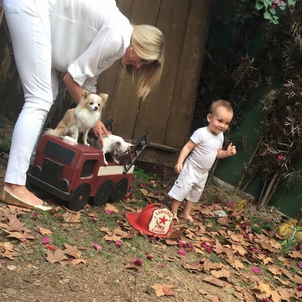 Ana posicionando os cães para a foto. (Foto: Reprodução / Facebook / Ana Hickmann)