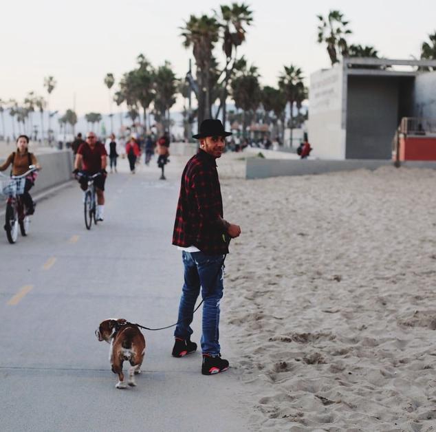 Hamilton levando Coco para passear na praia. (Foto: Reprodução / Instagram)