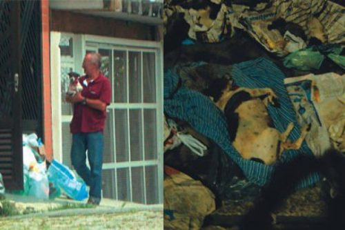 Foto feita por detetive contratado por ativistas: cadela com gravatinha sendo entregue para Dalva e a mesma cadela morta encontrada no lixo no dia seguinte (Foto: Edson Criado)