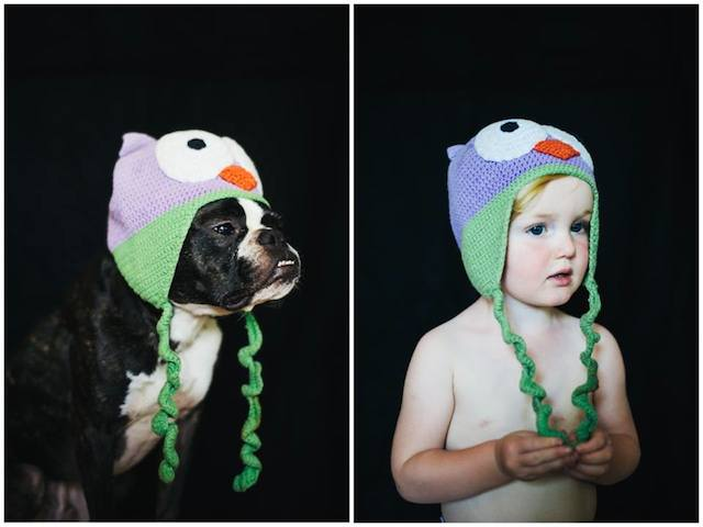 O cão Charlie e a garota usando o mesmo chapéu. (Foto: Reprodução / Facebook / Jesse Holland)