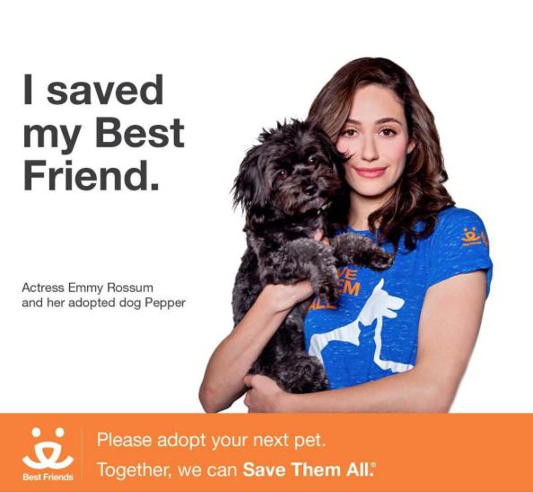 A atriz e seu cão adotado Pepper. (Foto: Reprodução / Instagram)