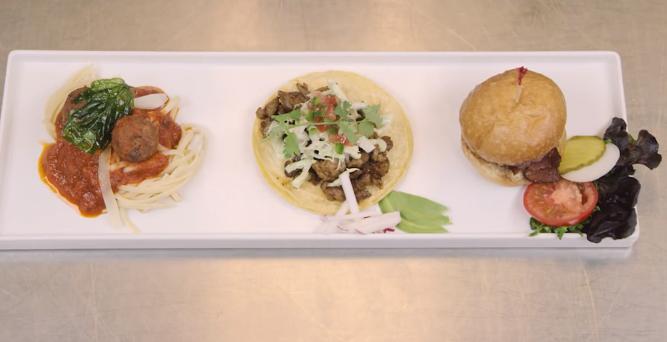 Espaguete com almôndegas, taco e hambúrguer foram servidos aos voluntários. (Foto: Reprodução / Youtube / Freshpet)