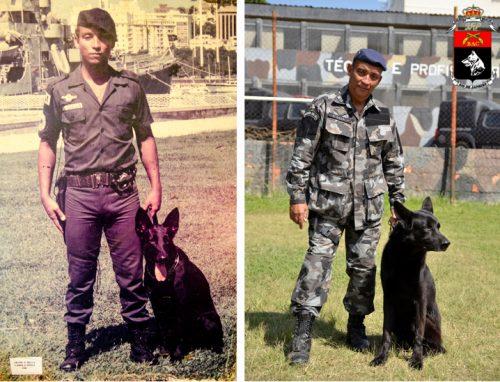 Foto: Cadela ninfa 1975 e cão Bruce 2015.