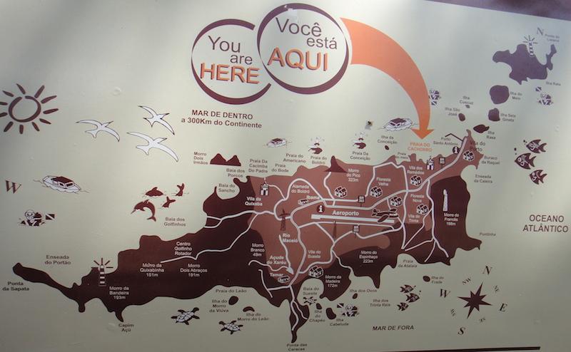 Mapa que mostra a localização da Praia do Cachorro no arquipélago de Fernando de Noronha. (Foto: Karina Sakita)