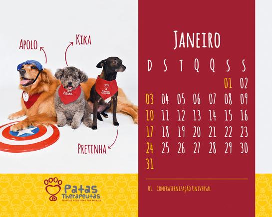 Cães terapeutas da ONG ilustram as 14 páginas do calendário. (Foto: Divulgação / Patas Therapeutas)