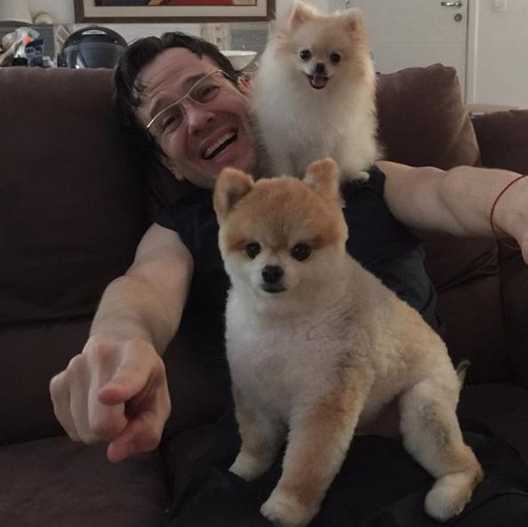 Celso Zucatelli com seus cães Paçoca e Tapioca. (Foto: Reprodução / Instagram)