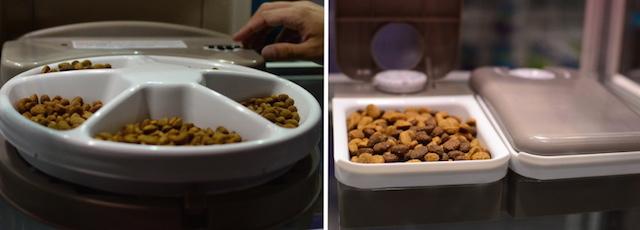 Alimentador com 5 compartimentos do lado esquerdo (aqui a tampa está aberta, quando está fechada apenas um compartimento fica à mostra). No lado direito está o alimentador com dois compartimentos. (Fotos: Karina Sakita)