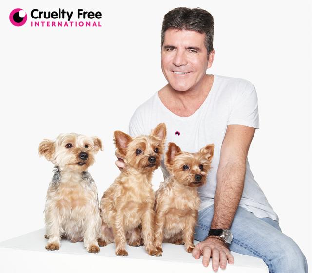 Simon Cowell e seus cães Squiddly, Diddly e Freedie. (Foto: Reprodução / Cruelty Free Internacional)