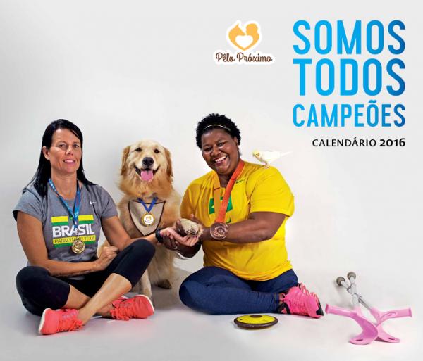 """O tema do calendário 2016 do Projeto Pêlo Próximo é """"Somos Todos Campeões"""". (Foto: Luciana Botelha)"""