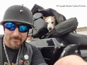 Brandon resgatou cão da estrada e o colocou confortavelmente em sua moto. (Foto: Reprodução / Brandon Turnbow Youtube)