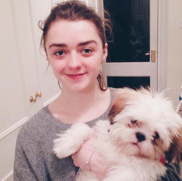 Maise Williams com seu cão Sonny. (Foto: Reprodução / Instagram / Bristol Dogs and Cats Home)