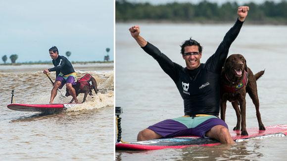 Ivan Moreira e seu cão Bono no rio Mearim. (Foto: Reprodução / Guinness World Records)