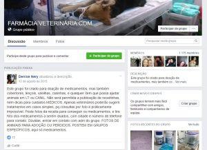 Página inicial do grupo e sua descrição feita pela criadora Denise Nery. (Foto: Reprodução / Facebook Farmácia Veterinária Comunitária)