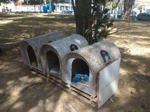 Os abrigos construídos pelo grupo são espalhadas por ruas e praças de Taubaté para que animais abandonados possam se proteger do frio. (Foto: Reprodução / Luciano Gomes)