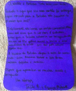 Além do brinquedo, a empresa mandou ainda um bilhetinho escrito à mão especialmente para Walter e Belinha. (Foto: Reprodução / Facebook Catioro Reflexivo)