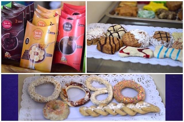 São vários sabores do bolo de caneca e os biscoitos têm formatos similares aos dos humanos. (Fotos: Karina Sakita)