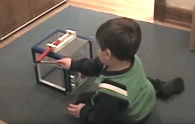 Criança abrindo caixa enigma, copiando todos os passos que aprendeu. (Foto: Reprodução / Youtube / YaleCampus)