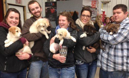 Então, os rapazes levaram os cães com eles e os animais foram distribuídos entre eles e seus familiares. (Foto: Reprodução / Trevor Jennings)
